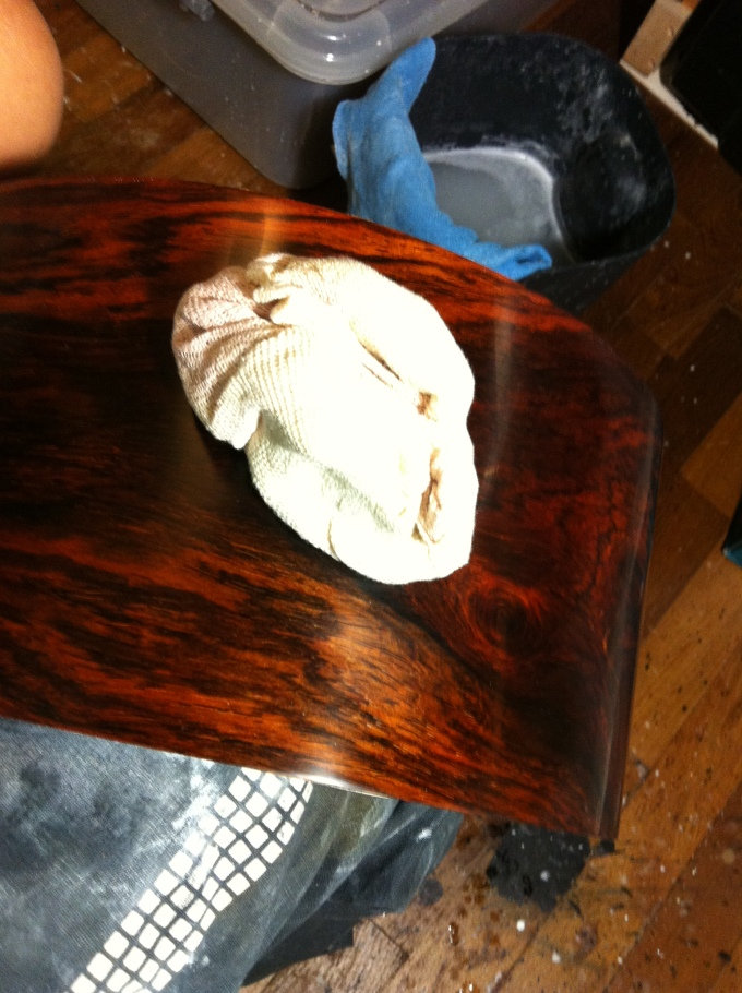 Pantheon Percussion: Hand buffing the Cocobolo shell