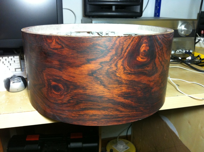 Pantheon Percussion: Cocobolo shell ready for buffing, polishing and assembly.