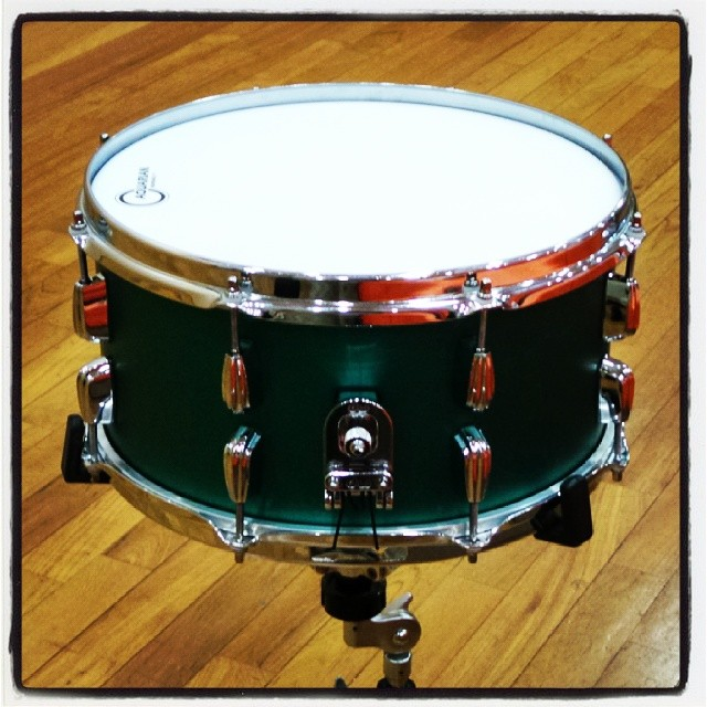 Pantheon Percussion: Aaron James Lee takes Satin Green 3mm thick 14 x 7 Aluminium snare on the road.