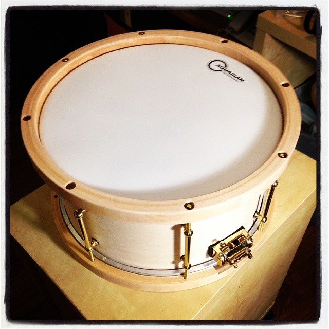 Pantheon Percussion: 14 x 7 Maple snare with Gold hardware to be stained Black,