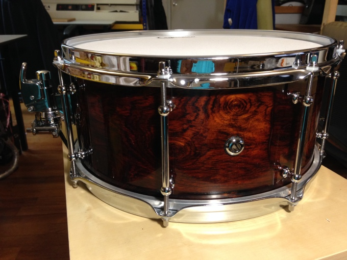 Pantheon Percussion: 14 x 6.5 Solid Cocobolo snare completed
