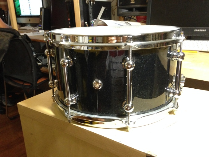 Pantheon Percussion: Black Sparkle wrap on 13 x 7 Maple snare