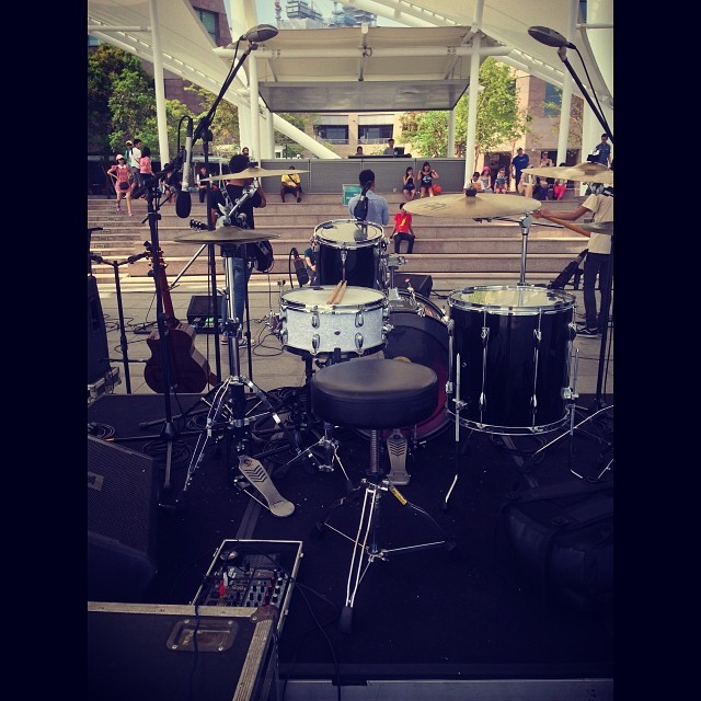 Pantheon Percussion: Ritz Ang shows his set up for tonight at The Esplanade.