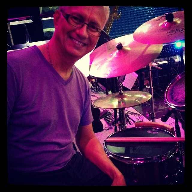 Pantheon Percussion: Gary Gideon with 13 x 6.5 Walnut stave snare and 5A sticks in Malaysia