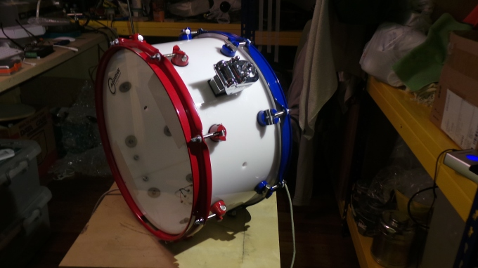 Pantheon Percussion: Riduan Zalani's 13 x 7 Red/Blue/White/LED Acrylic snare complete