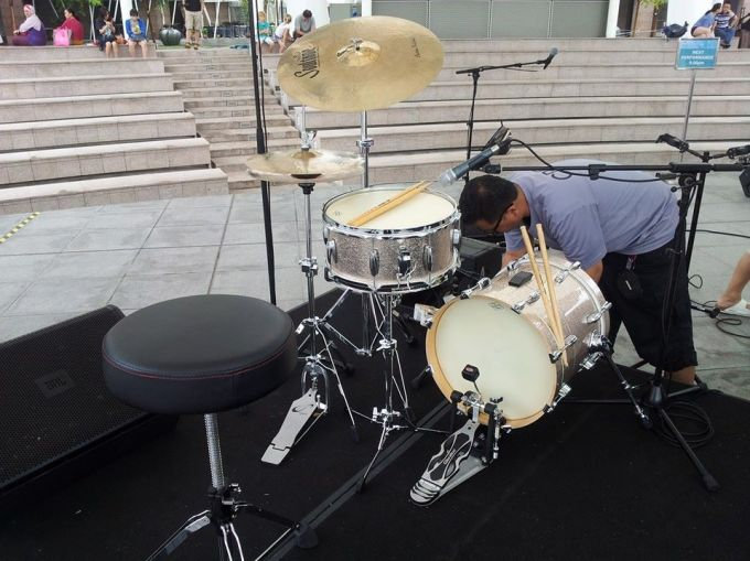 Pantheon Percussion: Nesting kit spotted at the Esplanade Outdoor Theatre!