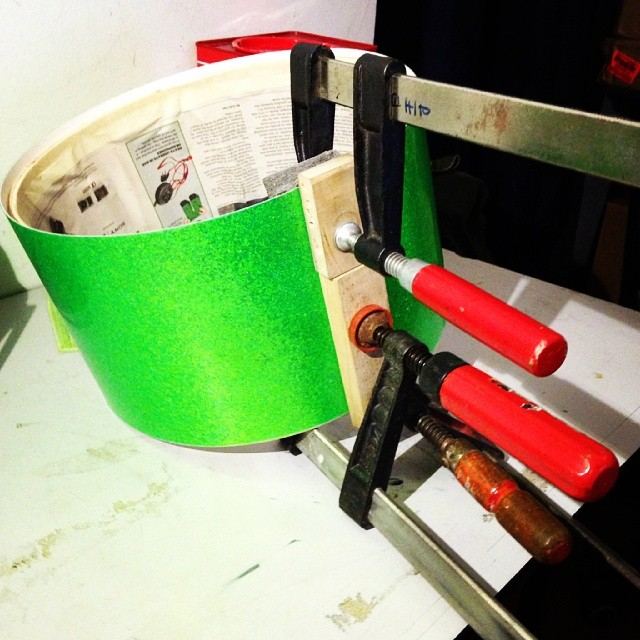 Pantheon percussion: Working on this 13 x 7 Lime Green Birch snare with custom white hardware for Zai Lim!