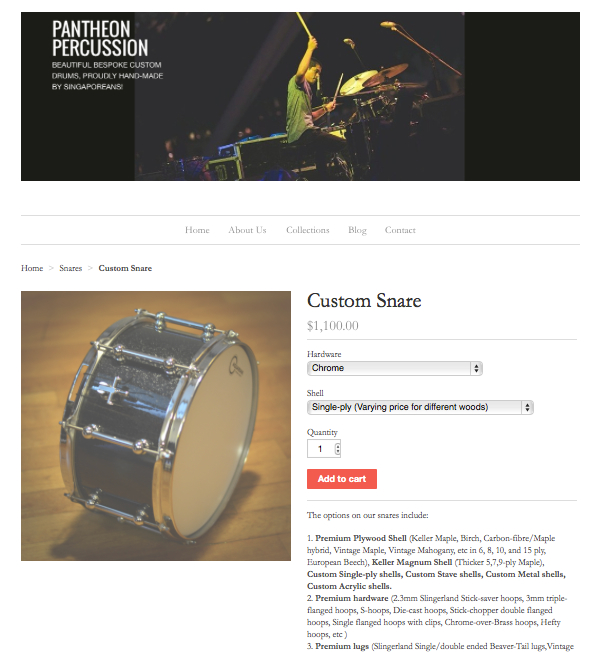 Pantheon Percussion: Get a quote, pay via paypal, and get an invoice straight from our webstore!